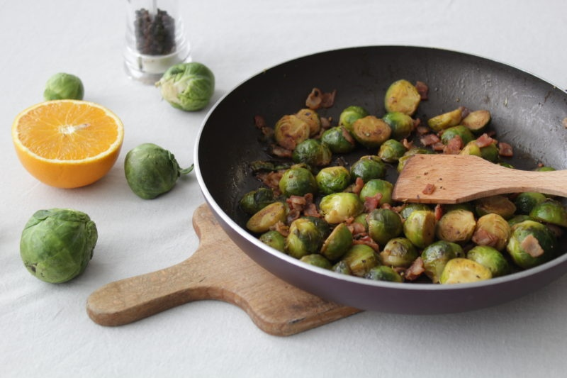 Brussel sprouts with bacon and orange juice