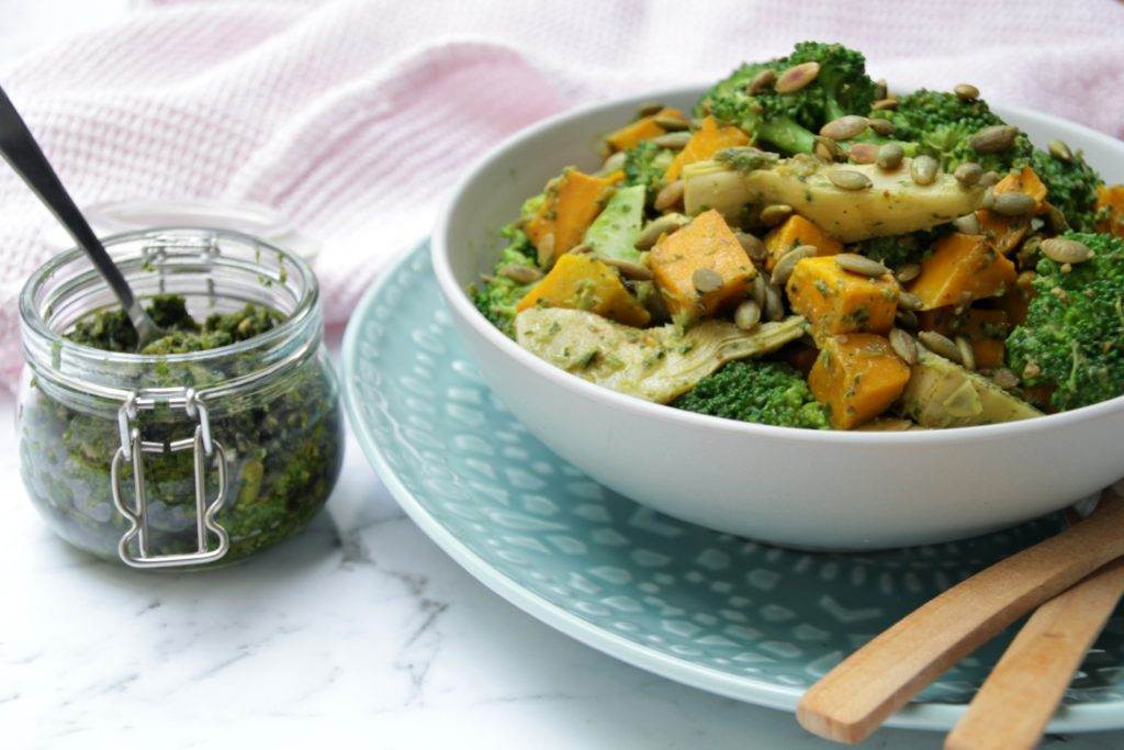 Broccoli And Pumpkin Salad (Paleo, Whole30, Low Crab, Vegan)