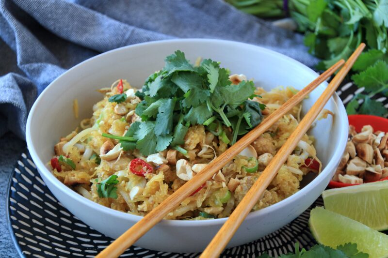 Spaghetti Squah Pad Thai (Paleo, Whole30, Low Carb)
